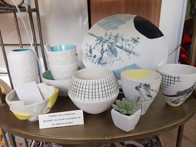 Lisa Maiofiss - vaisselle en céramique - dessin maison - poterie - manuel - fait en France - assiette - bol - tasse